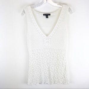 INC International Concepts Crochet White Tank L